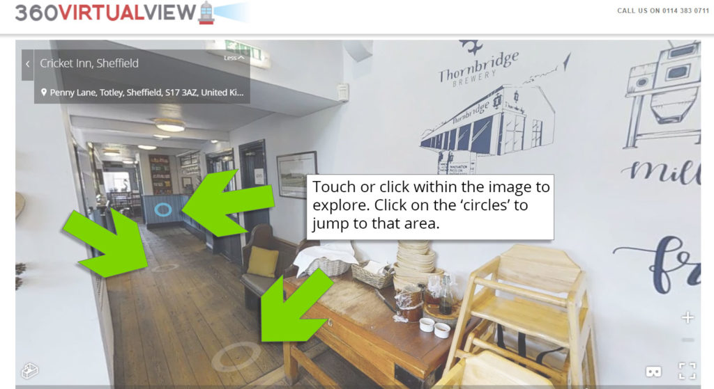 3 - click, tap or press within the virtual tour to move around or on the circles to jump to that area