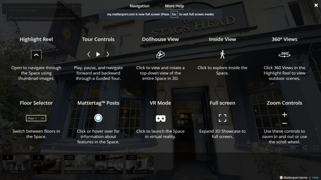 How to navigate the virtual tour